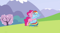 Pinkie Pie continues to hug Rainbow S3E7