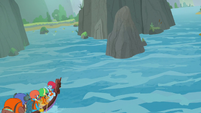 Ponies' canoe travels toward a split path S8E9