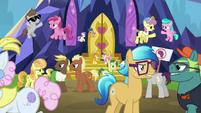 Ponies still arguing outside the castle S7E14