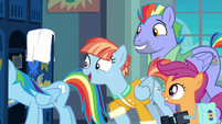 Rainbow's parents and Scootaloo appear in locker room S7E7