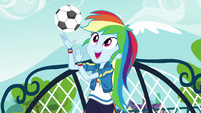 Rainbow Dash playing with a soccer ball EGFF
