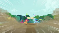 Rainbow and Scootaloo approach the finish line S5E17