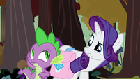 Rarity notices Spike hiding his face S8E11