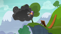 Scootaloo kicks the storm cloud S6E7