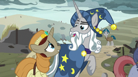 Star Swirl the Bearded talks with happy villager S7E26