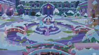 Twilight, Dash, and Spike in snowy fountain square S8E16