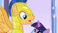 Twilight looking up at Flash Sentry EG.png