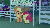 Apple Bloom doing 'cross my heart' motion S9E10