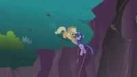Applejack slides down to Twilight S1E02