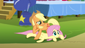 "Applejack whispering ""what's a goof off?"" S4E12.png"