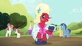 Big Mac dressing as Orchard Blossom with a handkerchief S5E17.png