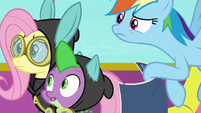 Fluttershy, RD, and Spike look back at Pinkie S9E4