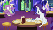 Gabby walks in on Spike and Rarity playing O&O S9E19