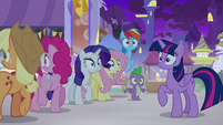 Mane Six and Spike hear Celestia's voice S9E17