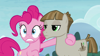 Pinkie Pie doing a double take to Maud Pie S8E3