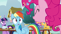 "Pinkie Pie yells ""no!"" at Rainbow Dash S7E23"