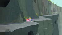 Pinkie and Maud circling a gorge bend S7E4