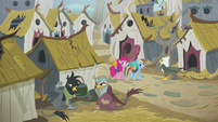 Pinkie and Rainbow walking in Griffonstone S5E8
