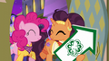 Pinkie and Saffron enter the restaurant smiling S6E12.png