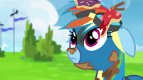 Rainbow Dash covered in trash S6E7