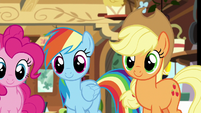 Rainbow and Applejack listen to Fluttershy S7E5