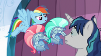 Rainbow gives Shining Armor guard helmets S6E1