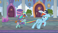 Snips pulls Rainbow back by her tail S9E15