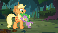 Spike clutches Applejack's mane S03E09