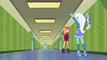 Sunset and Trixie alone in the hallway EGFF.png