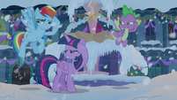 Twilight, Dash, and Spike looking in the snow S8E16