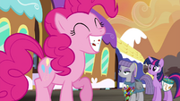 Twilight and Maud smiling at Pinkie S4E18