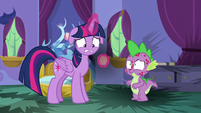 Twilight lamenting her burnt flash cards S8E11