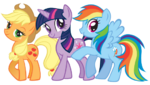 Applejack, Twilight Sparkle and Rainbow Dash