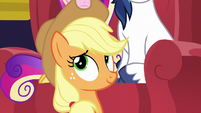 Applejack looking up at her hat MLPBGE
