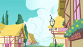 Empty street after Rainbow Dash flies around the corner S1E25.png