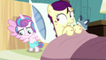 Flurry looking under Boysenberry's pillow S7E3.png