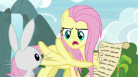 Fluttershy being stern with Angel S9E18