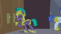 Guard Chrysalis pushes hard against doors S9E17