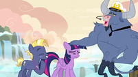 Iron Will patting Twilight Sparkle on the head S7E22