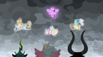 Mane Six, Young Six, and Pillars floating S9E25