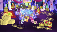 Mane Six in cluttered throne room S5E3