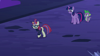 Moon Dancer walking away from Twilight and Spike S5E12