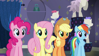 Pinkie, Fluttershy, AJ, and Dash pleased S6E9