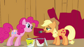 Pinkie Pie and Applejack in front of barn S02E18.png
