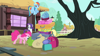 Pinkie pushing a pile of bags S4E11