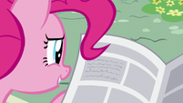 Pinkie reading news article about Fillydelphia S7E18