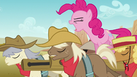 Pinkie trying to wake up the stallions S5E11