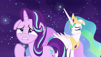 Princess Celestia affected by Starlight's words S7E10