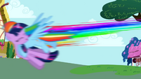 Rainbow Dash crashes into Twilight S1E01