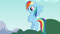 Rainbow Dash listening to Pinkie S4E12